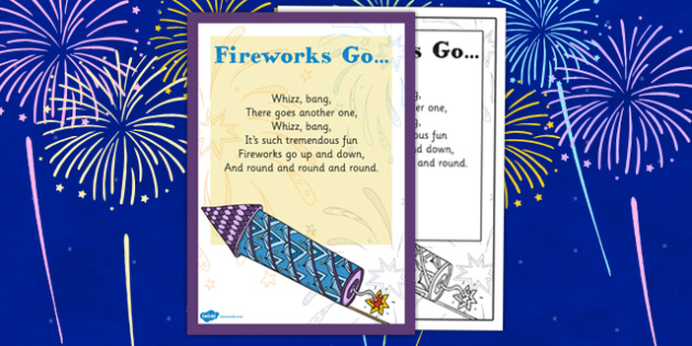 Fireworks Go Rhyme - fireworks, go, rhyme, early years, eyfs, bonfire night