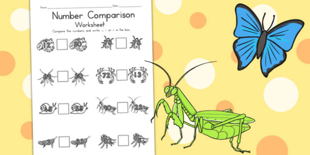 Minibeasts Number Comparison Worksheets - numeracy, maths, number