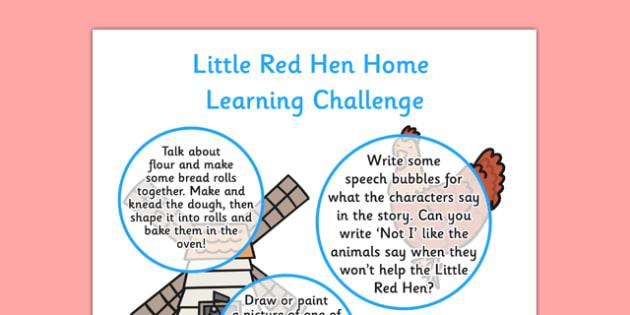 Little Red Hen Home Learning Challenge Sheet Reception FS2 - little red hen