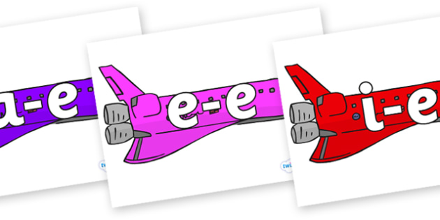 Modifying E Letters on Jets - Modifying E, letters, modify, Phase 5, Phase five, alternative spellings for phonemes, DfES letters and Sounds