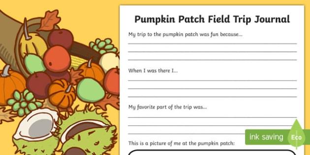 Pumpkin Patch Field Trip Journal Writing Activity Sheet