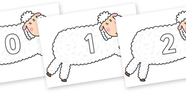 Numbers 0-50 on Hullabaloo Sheep to Support Teaching on Farmyard Hullabaloo - 0-50, foundation stage numeracy, Number recognition, Number flashcards, counting, number frieze, Display numbers, number posters