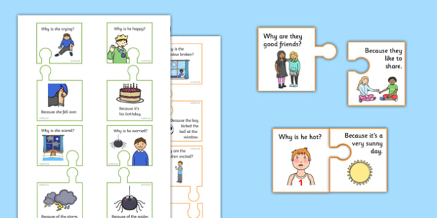 Why Because Jigsaw - question words, question games, jigsaws