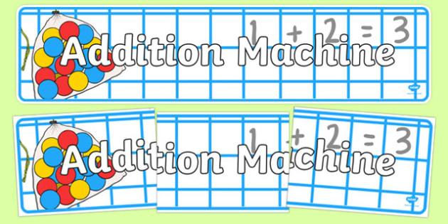 Addition Machine Display Banner - addition machine, display banner, display, banner, addition, add