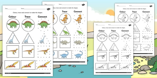 Dinosaur 2D Shape Colour Trace and Join the Dots - colours, dot