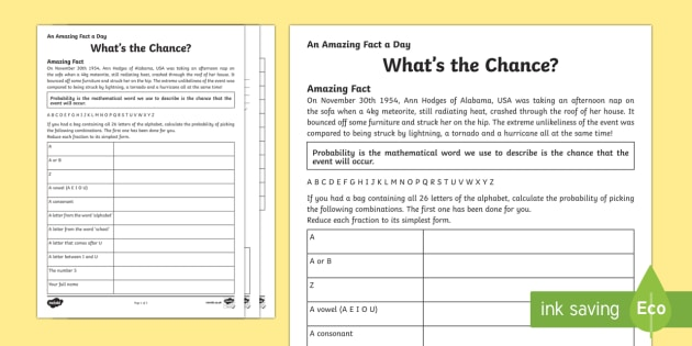 Whats The Chance? Activity Sheet