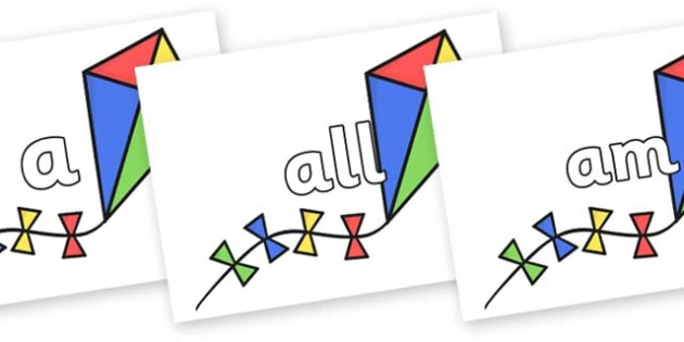 Foundation Stage 2 Keywords on Kites - FS2, CLL, keywords, Communication language and literacy,  Display, Key words, high frequency words, foundation stage literacy, DfES Letters and Sounds, Letters and Sounds, spelling