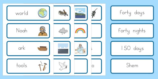 Noah's Ark Word Cards - usa, america, Noah's Ark, word cards, cards, flashcards, noah, tools, ark, animals, rain, rainbow, flood, dove, land