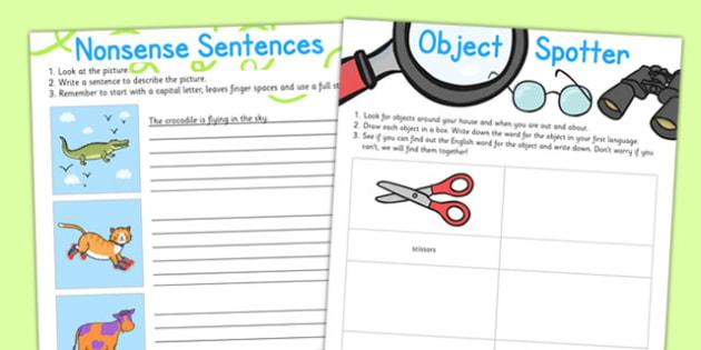 EAL Basic Skills Home Learning Tasks - eal, home, learning, tasks