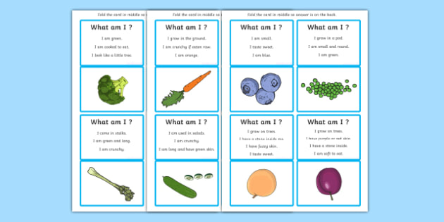 What Am I? Fruit and Vegetables Guessing Game