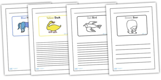 Black and White Lined Writing Frames to Support Teaching on Brown Bear, Brown Bear - brown bear brown bear writing frames, brown bear brown bear colour and write, storybook frame