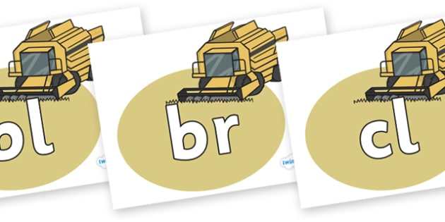 Initial Letter Blends on Combine Harvesters - Initial Letters, initial letter, letter blend, letter blends, consonant, consonants, digraph, trigraph, literacy, alphabet, letters, foundation stage literacy