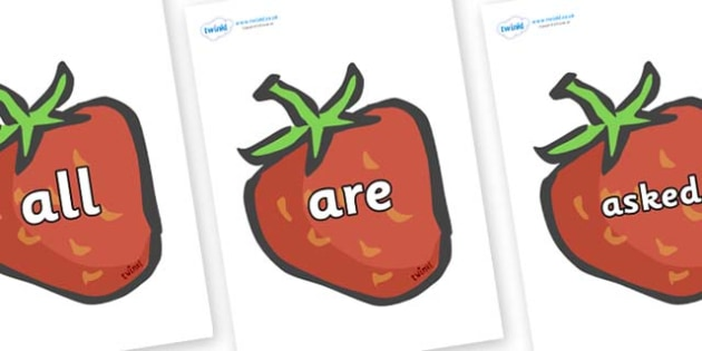 Tricky Words on Strawberries - Tricky words, DfES Letters and Sounds, Letters and sounds, display, words
