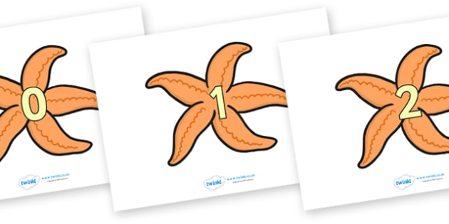 Numbers 0-20 on Starfish - Fish, Under the sea, Foundation Numeracy, Number recognition, Number flashcards, counting, sea, seaside, display, posters, water, tide, fish, sea creatures, shark, whale, marine, dolphin, starfish, waves, sand