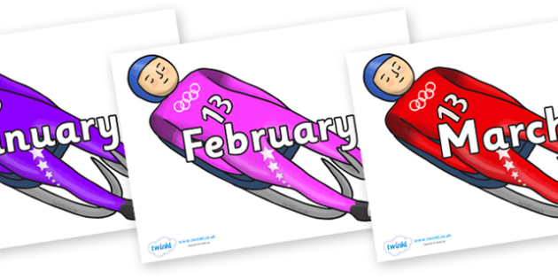Months of the Year on Luge - Months of the Year, Months poster, Months display, display, poster, frieze, Months, month, January, February, March, April, May, June, July, August, September