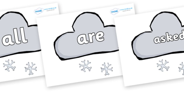 Tricky Words on Weather Symbols (Snow) - Tricky words, DfES Letters and Sounds, Letters and sounds, display, words