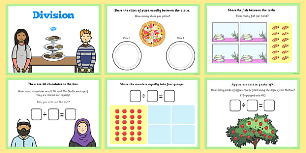 Maths Introducing Division Activity for IWB - maths, division, Division, share, word problem, equal groups