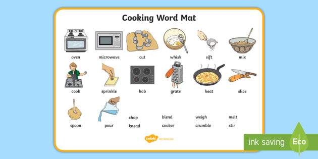 Cooking Word Mat - Cooking, word mat, writing aid, cook, A4, display, template, foundation cooking, cookery, learning to cook, dough
