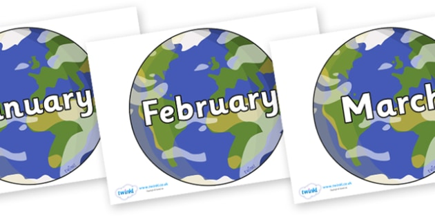 Months of the Year on Planet Earth - Months of the Year, Months poster, Months display, display, poster, frieze, Months, month, January, February, March, April, May, June, July, August, September