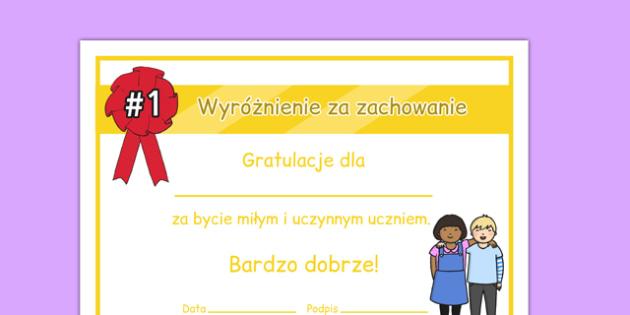 Certyfikat Zachowanie po polsku - motywacja, wychowawcza