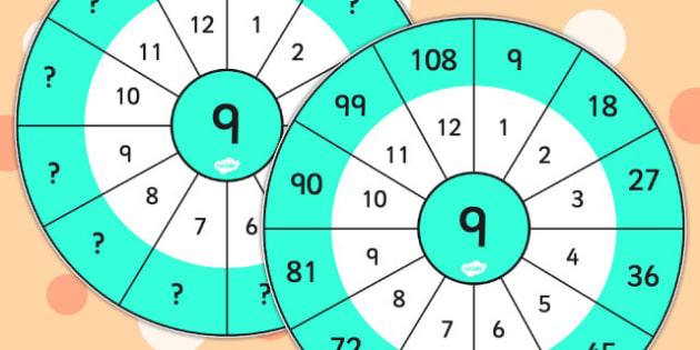 9 Times Table Wheel Cut Outs - times table, wheel, 9 times table