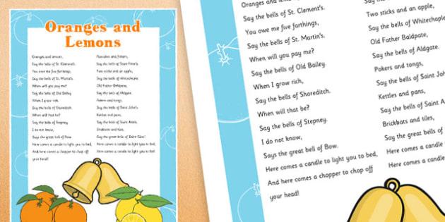 Oranges and Lemons Nursery Rhyme Poster - oranges and lemons, nursery rhyme, poster, display