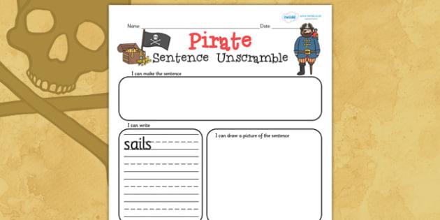 Pirate Sentence Unscramble Worksheets - pirate, literacy, words