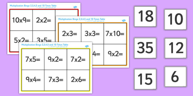 Multiplication Bingo 2, 3, 4, 5 and 10 Times Table Arabic Translation - arabic, multiplication, multiply, multiplying, 2, 3, 4, 5, 10, times, table, times table, bingo, game, fun, activity, learning, maths