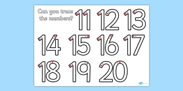 Number Formation 11-20 Worksheet - number, formation, 11-20, overwriting