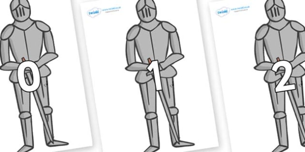 Numbers 0-50 on Suits of Armour - 0-50, foundation stage numeracy, Number recognition, Number flashcards, counting, number frieze, Display numbers, number posters