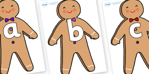 Phoneme Set on Gingerbread Man - Phoneme set, phonemes, phoneme, Letters and Sounds, DfES, display, Phase 1, Phase 2, Phase 3, Phase 5, Foundation, Literacy