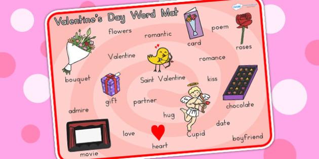 Valentines Day Word Mat - valentines, cupid, love, visual aid