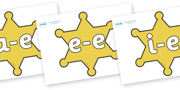 Modifying E Letters on Sheriffs Badges - Modifying E, letters, modify, Phase 5, Phase five, alternative spellings for phonemes, DfES letters and Sounds