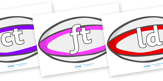 Final Letter Blends on Rugby Balls - Final Letters, final letter, letter blend, letter blends, consonant, consonants, digraph, trigraph, literacy, alphabet, letters, foundation stage literacy