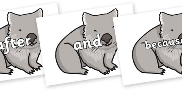 Connectives on Wombat - Connectives, VCOP, connective resources, connectives display words, connective displays