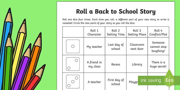 Roll a Back to School Story Storyboard Template - Back to School, story writing, story game, roll a story,Australia