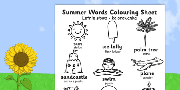 Polish Translation Summer Differentiated Words Colouring Sheet