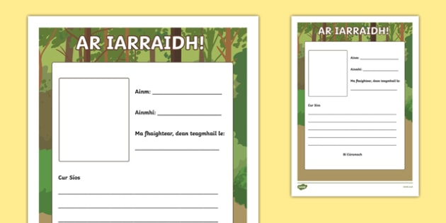 An Zú, Ar Iarraidh! Writing Activity Sheet, worksheet
