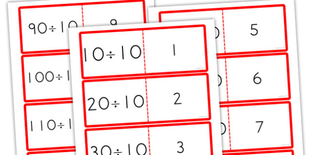 10 Times Table Division Cards - australia, division, cards, times