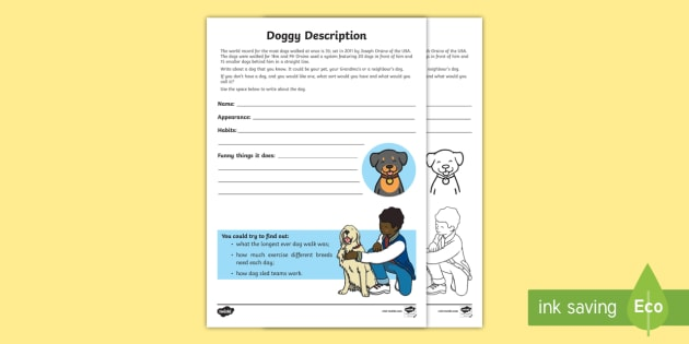 Doggy Description Activity Sheet - Amazing Fact Of The Day, activity sheets, powerpoint, starter, morning activity, January, KS1 Amazin