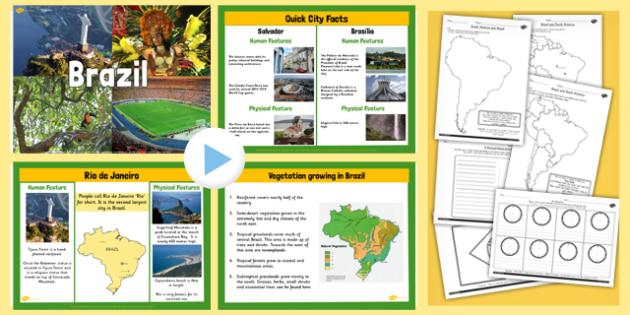 KS2 Brazil Lesson Teaching Pack - geography, brazil, countries