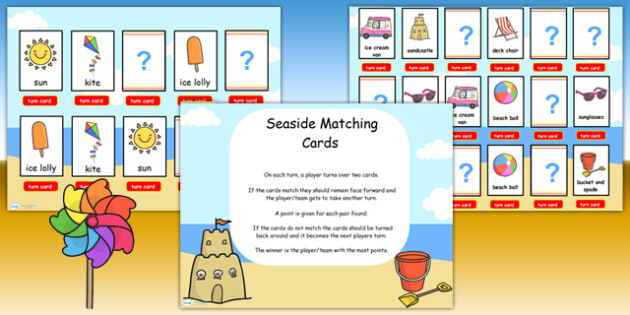 Seaside Themed Matching Cards Activity Flipchart - sea, match