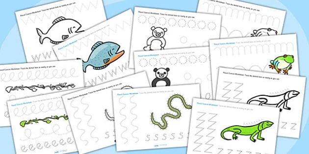 Jungle Themed Pencil Control Worksheets - jungle themed, pencil control, pencil control worksheets, themed pencil control, jungle themed worksheets