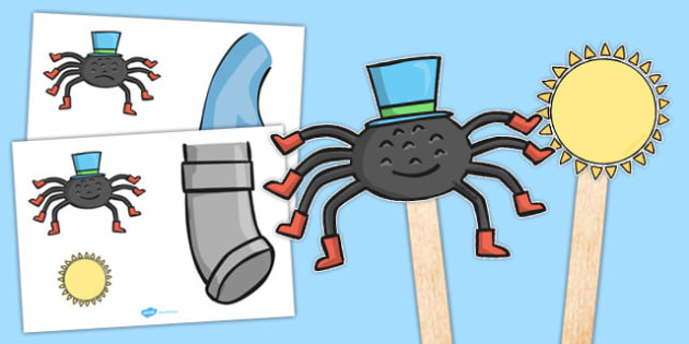 Incy Wincy Spider Stick Puppets - nursery rhyme, song, rhyme, minibeasts, EYFS, early years