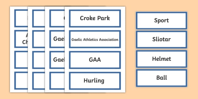 GAA Vocabulary Word Cards - gaa, vocabulary, word cards, irish, gaeilge