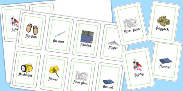 Two Syllable FL Flash Cards - sen, sound, special educational needs, fl, flash cards