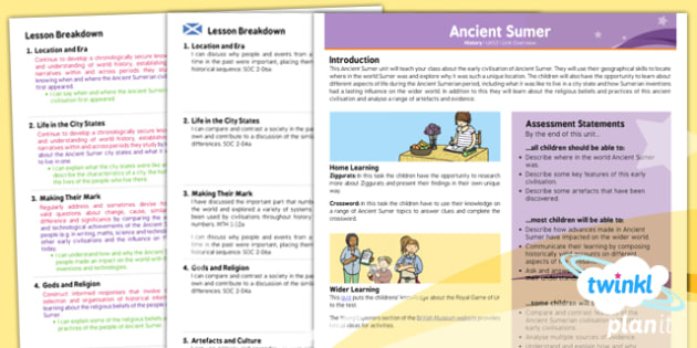 PlanIt - History UKS2 - Ancient Sumer Planning Overview CfE - ancient, sumer, planit, overview, ks2, history, 2014, planning