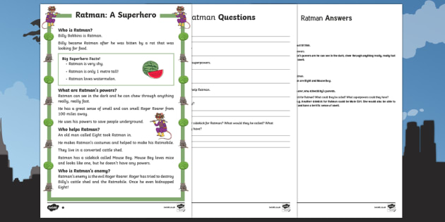 Ratman: A Superhero Differentiated Reading Comprehension Activity