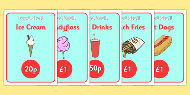 The Fairground Food Stall Role Play Posters - fairground food stall, fair ground food stall role play, fair ground food posters, food stall, food cart