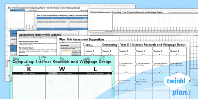 Computing: Internet Research and Webpage Design Year 5 Unit Assessment Pack